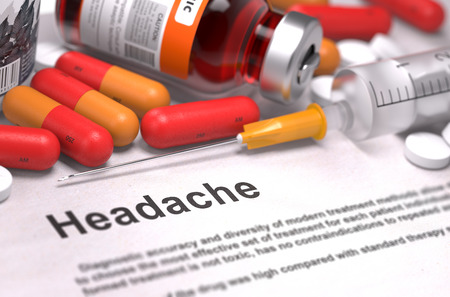 overstress: Headache - Printed Diagnosis with Blurred Text. On Background of Medicaments Composition - Red Pills, Injections and Syringe.