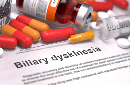 Diagnisis - Biliary Dyskinesia. Medical Report with Composition of Medicaments - Red Pills, Injections and Syringe. Selective Focus.