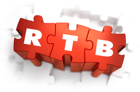 advertiser: RTB - White Word on Red Puzzles on White Background. 3D Render.