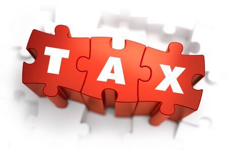 impost: Tax - White Word on Red Puzzles on White Background. 3D Illustration.