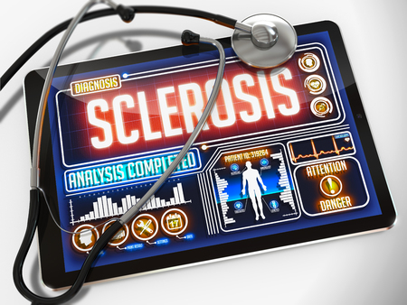 sclerosis: Sclerosis - Diagnosis on the Display of Medical Tablet and a Black Stethoscope on White Background. Stock Photo