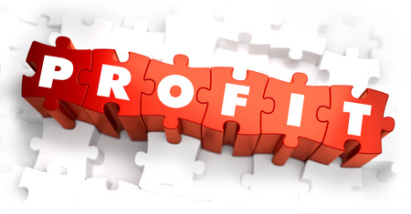 profitability: Profit - White Word on Red Puzzles on White Background. 3D Render.