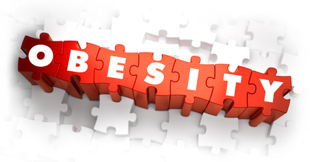 overeating: Obesity - White Word on Red Puzzles on White Background. 3D Render. Stock Photo