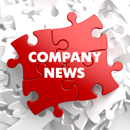 unified: Company News on Red Puzzle on White Background. Stock Photo