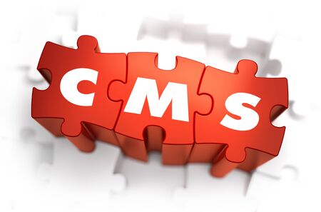 interactivity: CMS- White Word on Red Puzzles on White Background. 3D Illustration. Stock Photo