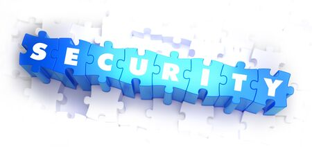 anonymity: Security - Text on Blue Puzzles on White Background. 3D Render. Stock Photo