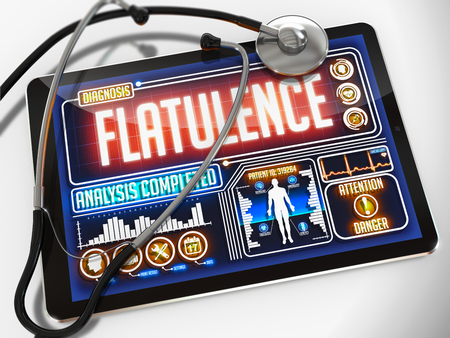 flatulence: Flatulence - Diagnosis on the Display of Medical Tablet and a Black Stethoscope on White Background.