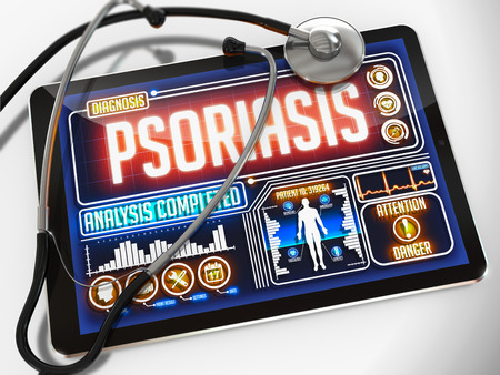 remission: Psoriasis - Diagnosis on the Display of Medical Tablet and a Black Stethoscope on White Background. Stock Photo