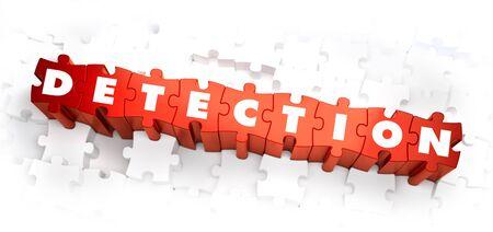 d�tection: D�tection - Blanc Word sur Puzzles rouge sur fond blanc. Illustration 3D. Banque d'images