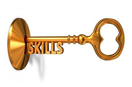 Skills - Golden Key is Inserted into the Keyhole Isolated on White Background