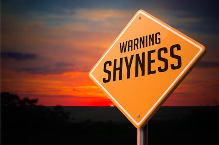 shyness: Shyness on Warning Road Sign on Sunset Sky Background.