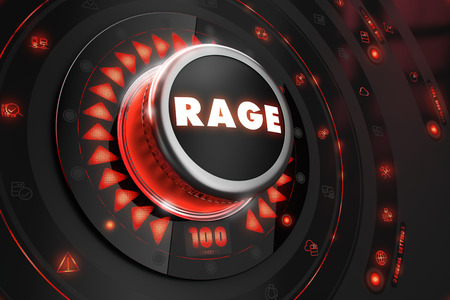 insanity: Rage Controller on Black Control Console with Red Backlight. Danger or Risk Control Concept.
