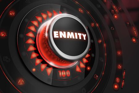 enmity: Enmity Controller on Black Control Console with Red Backlight. Danger or Risk Control Concept. Stock Photo