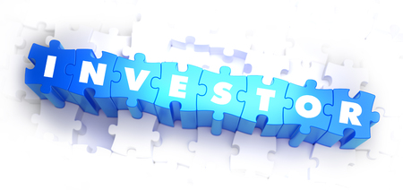 ownership equity: Investor - White Word on Blue Puzzles on White Background. 3D Illustration.