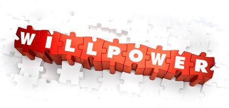 willpower: La forza di volont� - Bianco Word on Puzzle rosso su sfondo bianco. Illustrazione 3D.