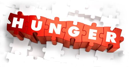 indigence: Hunger - Text on Red Puzzles with White Background. 3D Render.