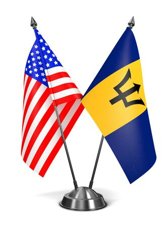 USA and Barbados - Miniature Flags Isolated on White Background.