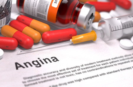 angina: Angina - Printed Diagnosis with Red Pills, Injections and Syringe. Medical Concept with Selective Focus.
