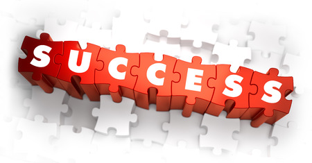 outcome: Success - Text on Red Puzzles with White Background. 3D Render. Stock Photo