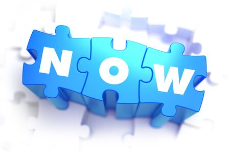 immediately: Now - Text on Blue Puzzles on White Background. 3D Render. Stock Photo