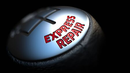 eliminating: Gear Stick with Red Text Express Repair on Black Background. Selective Focus. 3D Render.