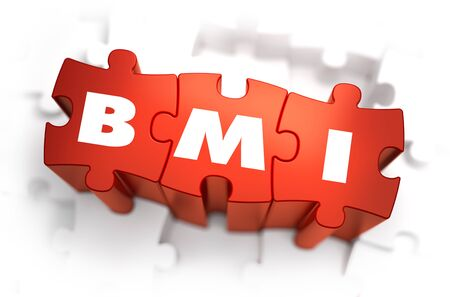 bmi: BMI - Body Mass Index - White Abbreviation on Red Puzzles on White Background. 3D Illustration.