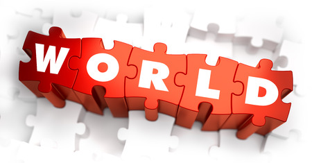 World - White Word on Red Puzzles on White Background. 3D Illustration. Imagens