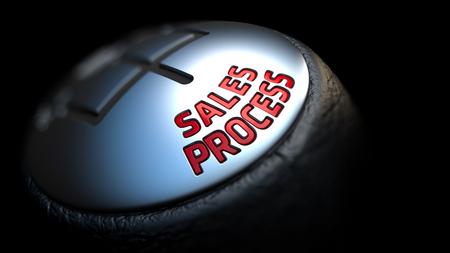 palanca de cambios: Proceso de Ventas - texto rojo en Negro Gear Shifter con cubierta de cuero. Cerrar La Vista. Foco.