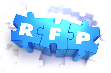 supplier: RFP - Request for Proposal - Abbreviation on Blue Puzzles on White Background. 3D Render.