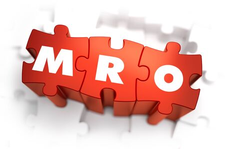 refit: MRO - Maintenance Service Operation - White Abbreviation on Red Puzzles on White Background. 3D Render.