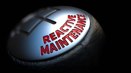 reactive: reactive maintenance - Red Text on Cars Shift Knob on Black Background. Close Up View. Selective Focus.