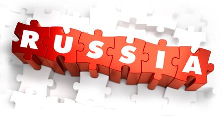 annexation: Russia - White Word on Red Puzzles on White Background. 3D Render. Stock Photo