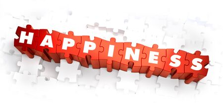 feeling good: Happiness - Text on Red Puzzles with White Background. 3D Render.