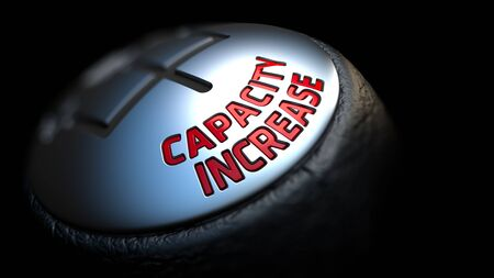 throughput: Capacity Increase - Red Text on Black Gear Shifter with Leather Cover. Close Up View. Selective Focus. Stock Photo