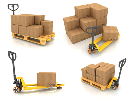 packer: Warehouse Concept. Set of 3D Pallet Truck and Cardboard Boxes.