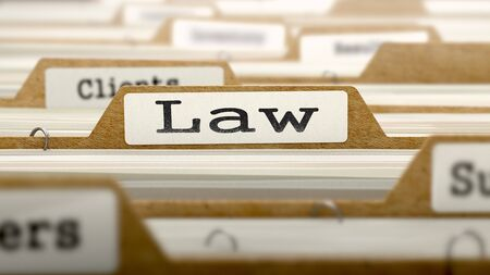lawmaking: Law Concept. Word on Folder Register of Card Index. Selective Focus.