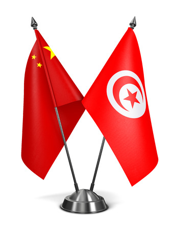 tunisie: China and Tunisia - Miniature Flags Isolated on White Background.