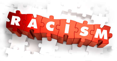 deliverance: Racism - White Word on Red Puzzles on White Background. 3D Render.