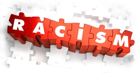 délivrance: Racisme - Parole Blanc sur Rouge Puzzles sur fond blanc. 3D Render.