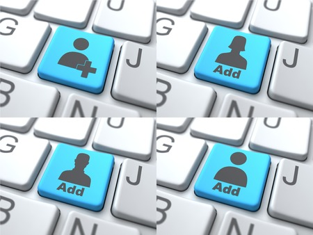 append: Add Concept - Blue Button on Keyboard Consisting of Share. Stock Photo