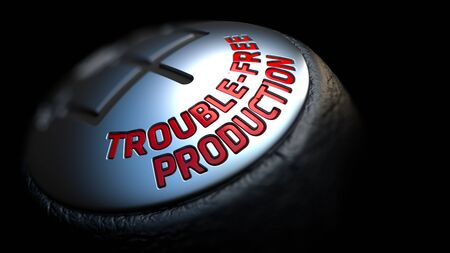 trouble free: Trouble-Free Production - Red Text on Cars Shift Knob on Black Background. Close Up View. Selective Focus.