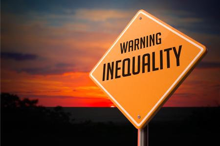 Inequality on Warning Road Sign on Sunset Sky Background. Stock Photo