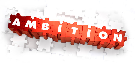 lordly: Ambition - White Word on Red Puzzles on White Background. 3D Illustration.