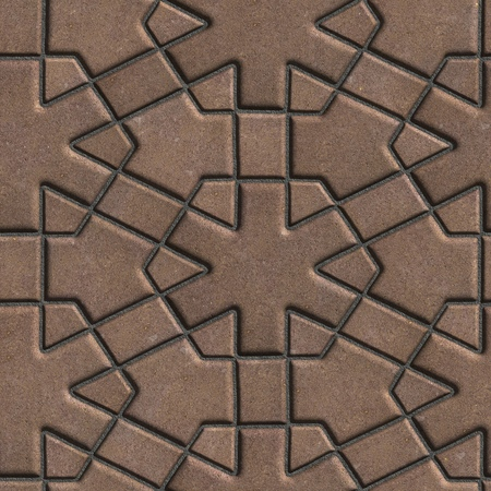 Brown Paving Slabs Built of Crossed Pieces a Various Shapes. Seamless Tileable Texture. photo