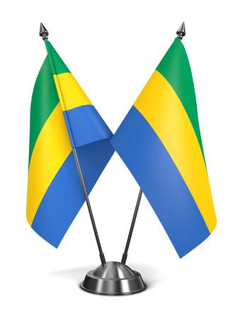 gabon: Gabon - Miniature Flags Isolated on White Background.