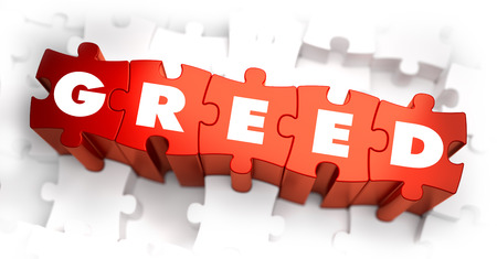 condemnation: Greed - Text on Red Puzzles with White Background. 3D Render.