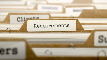 Requirements Concept. Word on Folder Register of Card Index. Selective Focus. Stock Photo