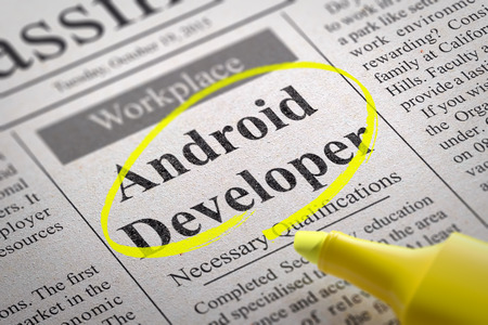 android: Android Developer Jobs in Newspaper. Job Search Concept.