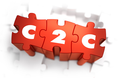 e auction: C2C - White Word on Red Puzzles on White Background. 3D Illustration.