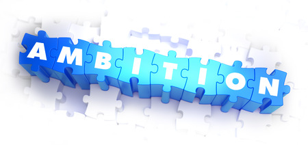 resentment: Ambition - White Word on Blue Puzzles on White Background. 3D Illustration.